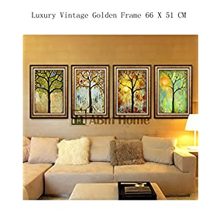 ABM Home -Flowers (51cm x 66cm/each Frame/4pcs set) Wall Art, Large Wall Picture Frame, Vintage Style, Wall Mural, Framed Canvas, Large Poster (Gold B)