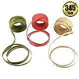BTNOW 3 rouleaux 3 couleurs 105 m raphia ruban de papier d'emballage Corde/ficelle 6,3 mm de large pour décoration de boîte de cadeau de Noël