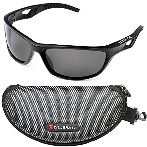 Zillerate Mens Womens Polarised Sports Sunglasses – Black Wrap Around, UV400 Protection, Lightweight Unbreakable TR90 Frames – For Cycling Skiing Golfing Driving Cricket Sailing Fishing Running Hiking and Outdoor Activities – With Hard Case and