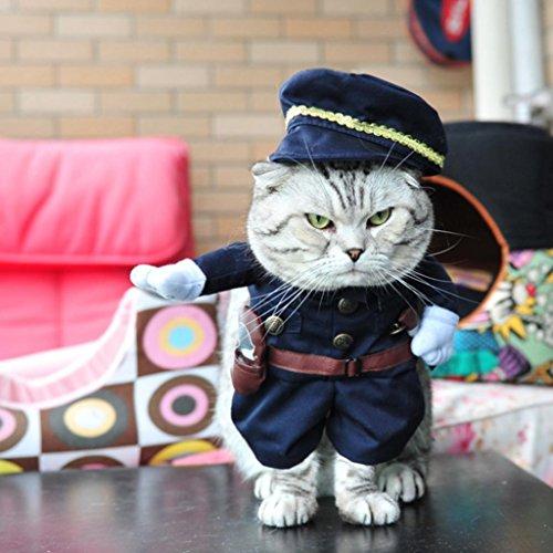 swiduuk Fashion niedlich Police Apparel Unisex Haustier Hund Kleidung Herbst Anzug Halloween Cosplay Party