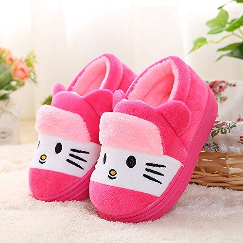 Pantofole bambino peluche con gatto - ciabatte invernali antiscivolo per ragazze e ragazzo 14cm da pingenaneer (rosa rossa)