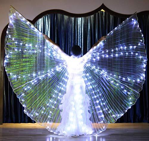 LED8 Stück Licht Leuchtende Flügel Bauchtanz Flügel, Frau LED-Licht Isis Flügel Bauchtanz Kostüme 360   Grad Sticks Leistung Tanzen Zubehör Props,A