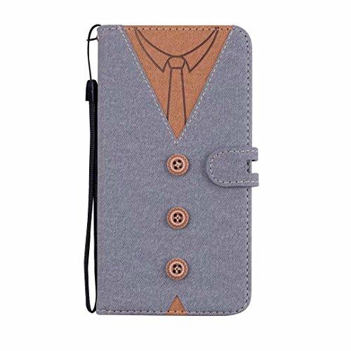 MoreChioce kompatibel mit Galaxy S9 Plus Hülle,kompatibel mit Samsung Galaxy S9 Plus Leder Flip Case, Fashion Grau Nähen Krawatte Stoff Schutzhülle Klapptasche Magnetverschluß mit Kartenfach,EINWEG