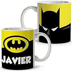 Taza Superhéroes Personalizada con Nombre | Regalo Friki | Varios Diseños y Colores Interior | Batman
