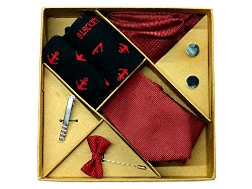 Blacksmith Polka Red Tie , Cufflink, Pocket Square , Socks , Lapel Pin , Tie Clip Set for Men - Gift Set for Men - Wedding Set for Groom