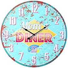 Out of the Blue 79/Diameter 58cm 3225Wood Wall Clock–Mom's Diner for 1AA Battery (Alkaline)