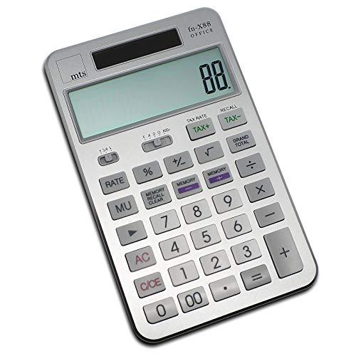 mts fn-X88 OFFICE Taschenrechner Calculator Tischrechner Büro Rechner Steuer Tax MwSt USt großes Display XL edel exklusiv Metall Aluminium 4 Farbvarianten schwarz gold silber pink rosa (silber)