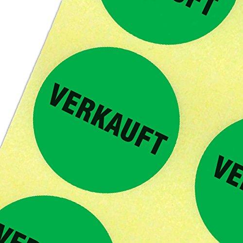 """1000 Etiketten\""""VERKAUFT\"""" Haftpapier 30 mm rund leuchtend grün auf Rolle"""