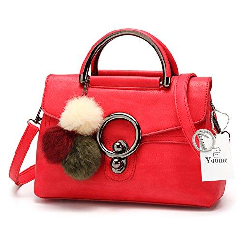 Yoome Plüsch Anhänger Retro Taschen für Schulter Top Handle Satchel Mädchen Taschen Purses Für Teens - Rot Rot