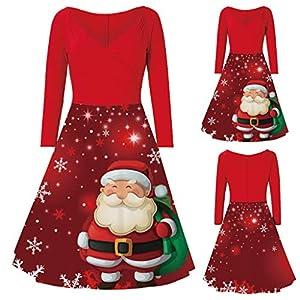Floweworld Damenkleider Mode V-Ausschnitt mit Langen Ärmeln A-Linien-Kleider Frohe Weihnachten Weihnachtsmann-Druck…