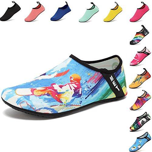 VIFUUR Water Sports Shoes Barefoot Quick-dry Aqua Yoga Socks Slip-on for Men Women Kids Surfing-36/37