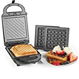 VonShef 2-in-1 Sandwich Toaster and Waffle Maker | Toastie Maker with Removable Plates