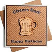 Cheers Dad Happy Birthday Card - Handmade Rustic Wooden Beer Pint Glass - Cards for Father