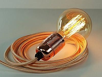 4m Rose Gold Fabric Cable Plug In Pendant Light E27 Copper Fitting & Globe Edison Bulb by Vendimia Lighting Co.
