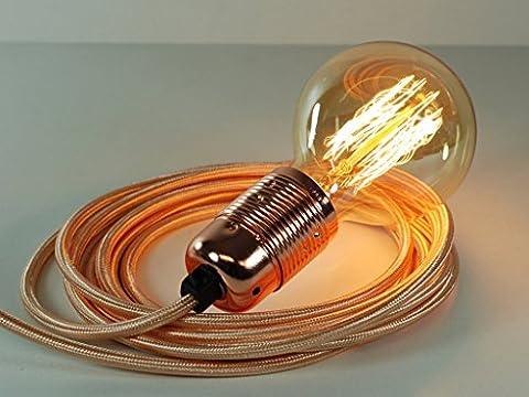 4m Rose Gold Fabric Cable Plug In Pendant Light E27 Copper Fitting & Globe Edison Bulb