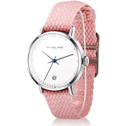Women Dress Casual Watches with White Dial Date Pink Nylon Strap