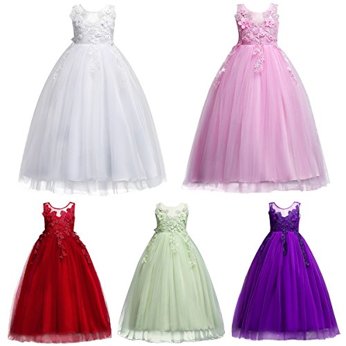 IWEMEK Kids Big Girls Bridesmaid Tulle Lace Dress School Girls Elegant Communion Ball Gown Dance Pageant Birthday Christmas Party Prom Evening Wedding Flower Dress Sleeveless Floor Length 5-16 Years