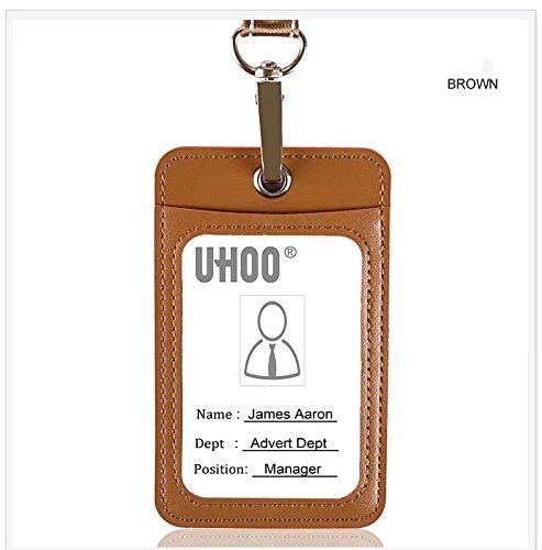 Ausweishalter, PU-Leder Ausweishalter mit Umhängeband, 1 Ausweisfenster und 1 Kartenschlitz, für 4 Karten 4.3 x 2.6inch braun 4.3 Leder