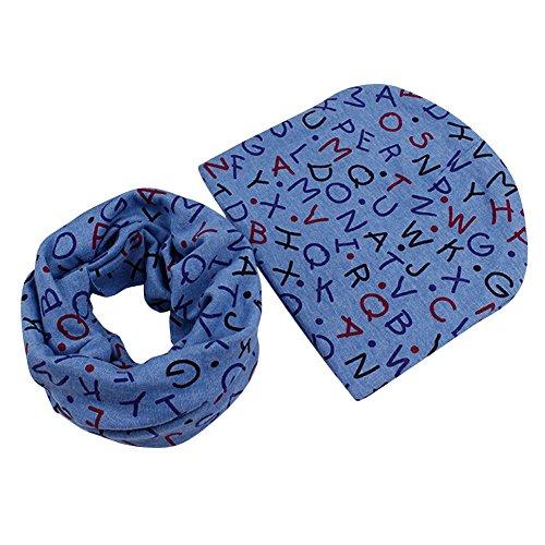 Sanwood® Kleinkinder Unisex Mütze + Schal weich Stretch Geschenk-Set Gr. Einheitsgröße, Blue Letter - Schal-geschenk-set