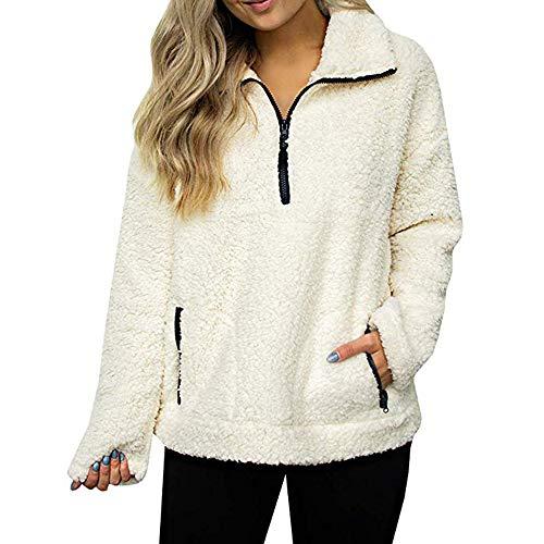 (Luckycat Frauen Sweatshirt Mantel Winter warme Wolle Reißverschluss Taschen Baumwolle Mantel Outwear Jacken Mäntel Sweatjacke Winterjacke Fleecejacke Steppjacke)