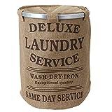 teprovo Cesto para ropa Colector de ropa sucia 60 l Aspecto lino con tapa cierre cordel marrón beige - beige