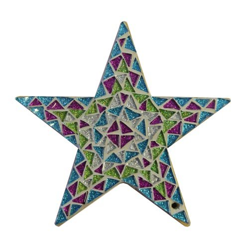 Jewel Star Mosaic Kit, A complete mosaic kit with MDF base and glass glitter tiles. No cutting required.