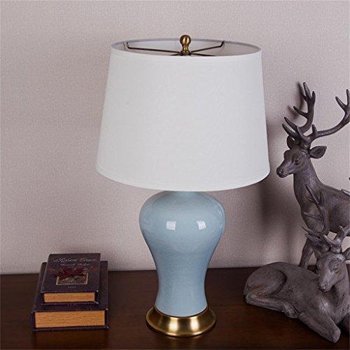 HIAPENG Modern Simple European Style All Copper Decorative Ceramic Celadon Crackle Bedside Lamp Table Lamp For Living Room Bedroom Energy saving ( Design : Model2 )