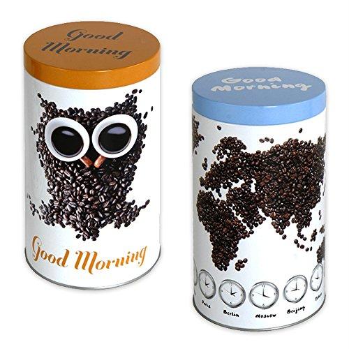 Kaffeedose, Teedose , Frischhaltedose, Modell 'TwinsII' im 2er Set Aufbewahrungsbox im Kaffeedesign