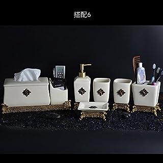 Luxus im europäischen Stil Bad Sanitär Keramik für 6 Tasse Tasse Zahnbürste Wash Kit liefert kreative Geschenke,6.