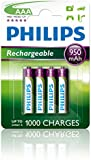 Philips R03B4A100/10 Rechargeable AAA Battery 950mAh, upto 1000 Charges (Pack of 4)