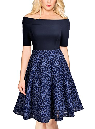 MIUSOL Cocktailkleid Schulterfei Rockabilly Elegant Abendkleid Navy Blau