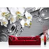 Fototapete 368x254 cm PREMIUM Wand Foto Tapete Wand Bild Papiertapete - Orchideen Tapete Ornament Orchidee Blüte Blume grau - no. 603