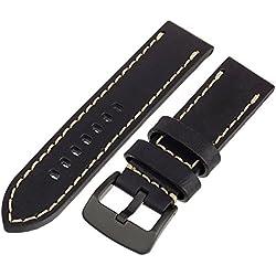 Tech Swiss LEA1557-24 24mm leather calfskin Black watch band