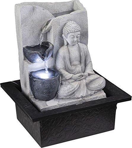 GLOBO LED Fuente de Mesa de Primavera Diseño de Buda Juego de Agua Sala de estar Decoración Gris 93019