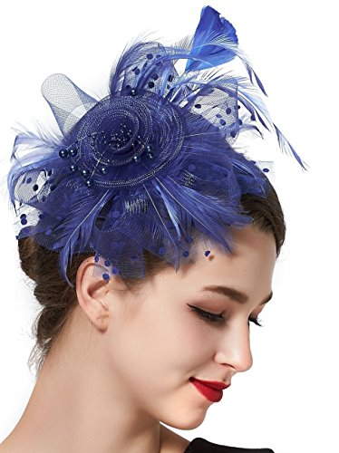 Feibao Fascinator, Hochzeithüte für Frauen, Fascinator Haarreifen und Clips, Baretthüte Gr. Einheitsgröße, königsblau (Kentucky Derby-hüte Damen)