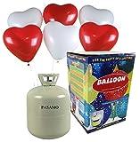Helium - Marken Ballongas PASAMO inklusive 30 rote und weiße Herz Ballons und Ballonband – 0,25 m³ Einwegflasche z.B. für ca 30 Luftballons als witziger Partyspaß - Partyzubehör – Flasche reicht für viele Ballons !