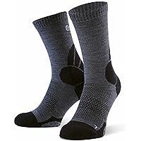 Eono Essentials – Calcetines de senderismo y trekking de lana merino para hombre y mujer (paquete de 2 uds.), tallas 43-46, Gris-Negro