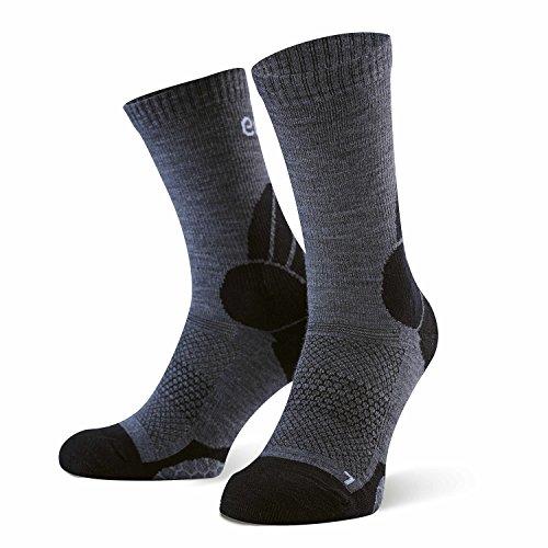 Amazon Marke: Eono Essentials Wander- und Trekking-Socken aus Merinowolle für Herren und Damen, Größe 43-46, Grau-Schwarz, 2er-Pack -