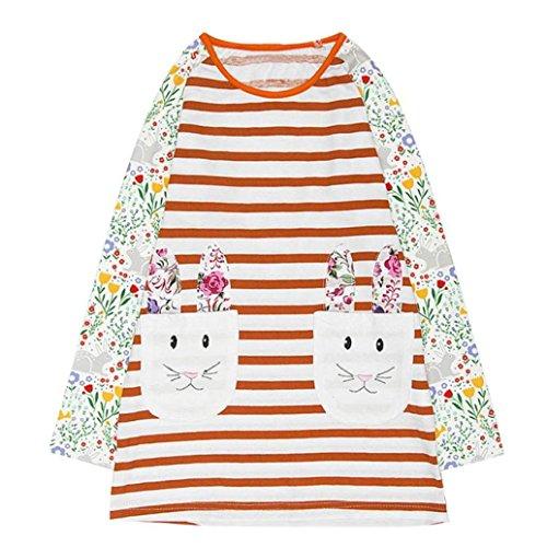 JERFER Baby Kleinkind-Mädchen Langarm Herbst Karikatur Prinzessin T-shirt Kleid 2-6T (B, 4T) (Shirt Mädchen Kleine)