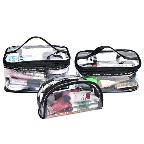 BeeViuc Beauty Case da Viaggio, Trousse Trasparente, Set da Viaggio per Cosmetici, Kit da Aereo per Liquidi, Sacchetti di Trucco di viaggio PVC per Uomini e Donne - 3 Busta da Viaggio Trasparent