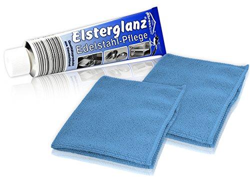 * Elsterglanz Edelstahl-Pflege XXL-Tube 150 ml + zwei Mikrofaser-Tücher | Das Original aus Deutschland