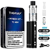 THORVAP E Zigarette Starterset 40W TC Kit 2200mAh, 0.5ohm 2ml Sub Ohm Verdampfer Tank, TC (Temperaturregelung) Box Mod Akkuträger Mit Integriertem 18650 Akku, 510 Elektronische Zigarette ohne Nikotin (Schwarz)