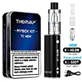 THORVAP® 40W E Zigarette Starter set Box Mod kit, 2200mAh Akku,0.5ohm/2.0ml Verdampfer kopf Tank, TC(Temperaturregelung) Box Mod mit 18650 Integriertem Batterie, E Shisha Nichtraucher Ohne liquid Ohne Nikotin (schwarz)