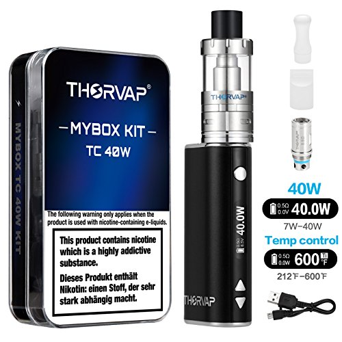THORVAP 40W E Zigarette Starter set Box Mod kit, 2200mAh Akku,0.5ohm/2.0ml Verdampfer kopf Tank, TC(Temperaturregelung) Box Mod mit 18650 Integriertem Batterie, E Shisha Nichtraucher Ohne liquid Ohne Nikotin (schwarz)