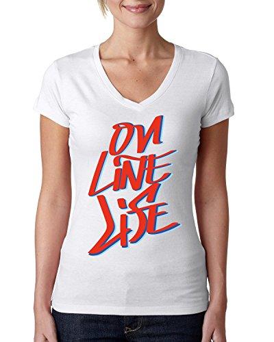 Online life funny slogan dammen V-neck baumwolle t-shirt Weiß