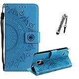 ZCRO Leder Hülle für Samsung Galaxy Note 4, Handyhülle für Samsung Galaxy Note 4, Handytasche Flip Case Hülle Leder Magnet Tasche Schutzhülle für Samsung Galaxy Note 4 (Blau)
