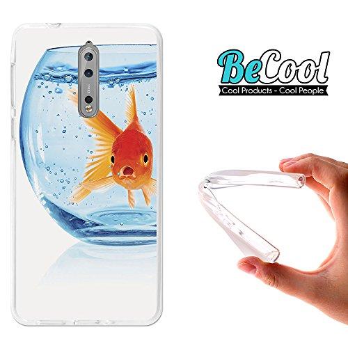 Becool® - Flexible Gel Schutzhülle für Nokia 8, TPU Hülle aus bestem Silikon gefertigt, die dank unserem exklusivem Design sich einwandfrei an Ihr Smartphone anpasst und optimalen Schutz gewährleistet. Fischglas.