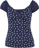 Küstenluder Damen Oberteil Quincy Anker Sailor Kurzarm Shirt Blau 3XL
