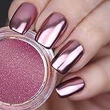 USHION Rose Gold Chrom Puder Spiegel Effekt Metall Nail Pigment Glitzer Staub Nail Art Dekoration 0,2 g