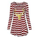 Sannysis Weihnachten Kleid Damen Parteikleid Streifen Kleid Round Collar Weihnachtskleid Elch Langarm Winterkleider Abendkleider Minikleid (XL, Rot-1)